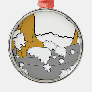 Hund Rundes Silberfarbenes Ornament
