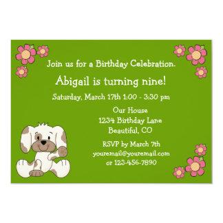 Hündchen-Geburtstags-Einladung für Mädchen 12,7 X 17,8 Cm Einladungskarte