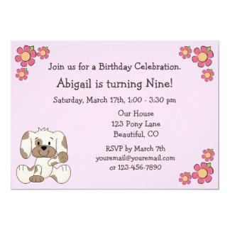 Hündchen-Geburtstags-Einladungen für Mädchen 12,7 X 17,8 Cm Einladungskarte