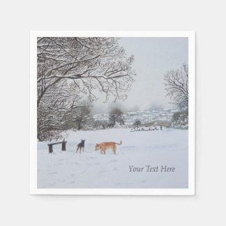 Hunde, die ursprüngliche Kunst der Schneeszene Servietten