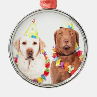 Hunde Rundes Silberfarbenes Ornament