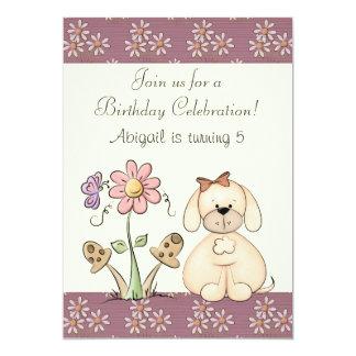 Hunde-und Blumen-Geburtstags-Einladung für Mädchen