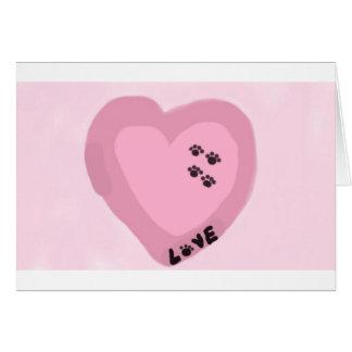Hundedrucke auf meinem Herz-Rosa Karte