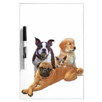 Hundegruppe mit Katze Trockenlöschtafel
