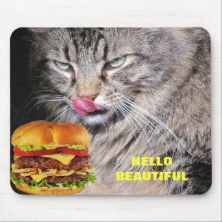 Hungrige Katze trifft schönen Cheeseburger Mousepads