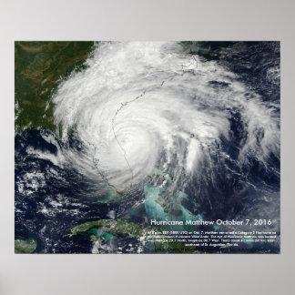 Hurrikan-Matthewsatellitenbild durch St Augustine Poster