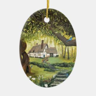 Hütte im Holz Keramik Ornament