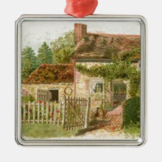 Hütte Quadratisches Silberfarbenes Ornament