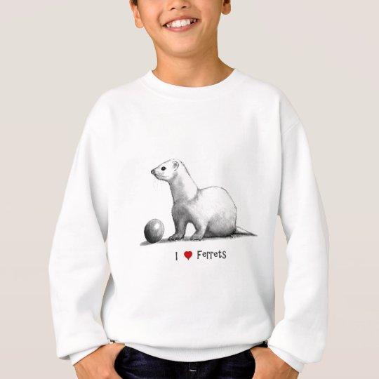 i frettchen der liebe herz bleistift zeichnen sweatshirt. Black Bedroom Furniture Sets. Home Design Ideas