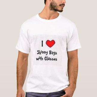 I Herz-dünne Jungen mit Gläsern T-Shirt