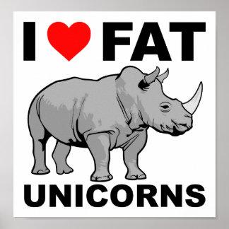 I Herz-fettes Einhorn-Nashorn-lustiges Plakat