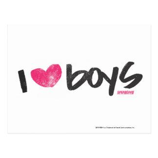I Herz-Jungen magentarot Postkarte