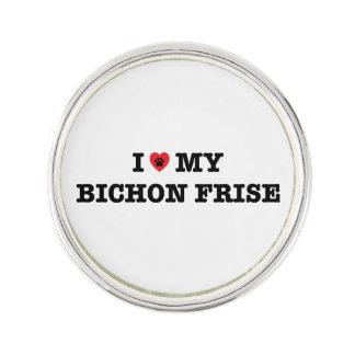 I Herz mein Bichon Frise Revers-Button Anstecknadel