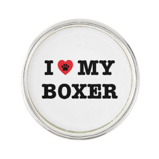 I Herz mein Boxer-Revers-Button Anstecknadel