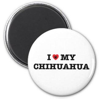 I Herz mein Chihuahua-Kühlschrankmagnet Runder Magnet 5,1 Cm