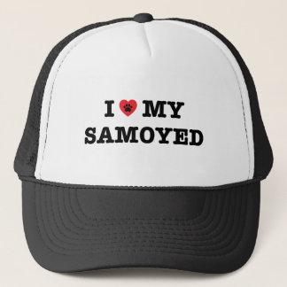 I Herz mein Samoyed-Fernlastfahrer-Hut Truckerkappe
