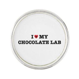 I Herz mein Schokoladen-Labrador-Revers-Button Anstecknadel
