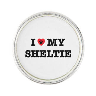 I Herz mein Sheltie Revers-Button Anstecknadel