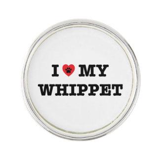 I Herz mein Whippet Revers-Button Anstecknadel