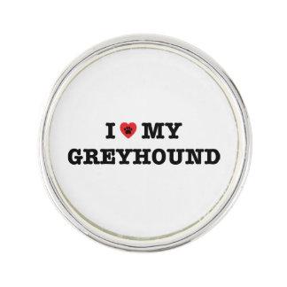 I Herz mein Windhund-Revers-Button Anstecknadel