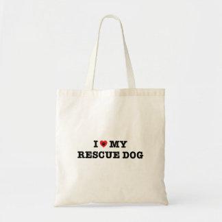 I Herz meine Rettungs-HundeTaschen-Tasche Budget Stoffbeutel