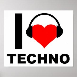 I Herz Techno lustiges Plakat