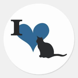 I Herzpussy-Katze Runder Aufkleber