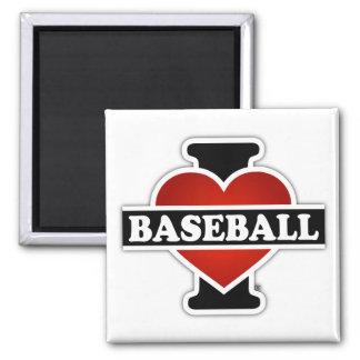 I Liebe-Baseball Quadratischer Magnet