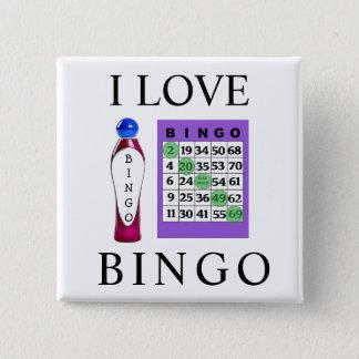 I Liebe BINGO lila Karten-Knopf Quadratischer Button 5,1 Cm