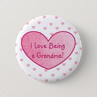 I Liebe, die ein Großmutter-Knopf-Rosa-Herzen ist Runder Button 5,7 Cm