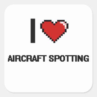 I Liebe-Flugzeuge, die Retro Entwurf Digital Quadratischer Aufkleber