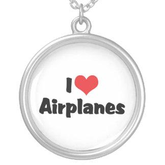 I Liebe-Herz-Flugzeuge Versilberte Kette