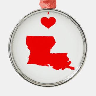 I Liebe (Herz) Louisiana Silbernes Ornament