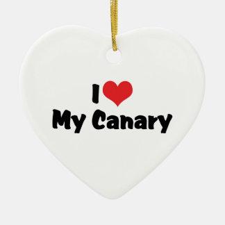 I Liebe-Herz mein Kanarienvogel - Vogel-Liebhaber Keramik Ornament