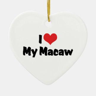 I Liebe-Herz mein Macaw - Vogel-Liebhaber Keramik Herz-Ornament