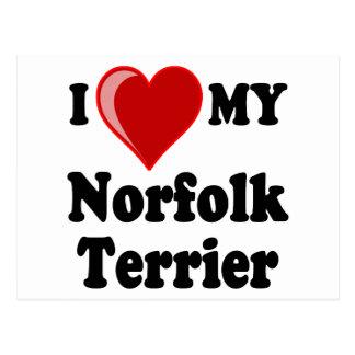 I Liebe (Herz) mein Norfolk-Terrier-Hund Postkarte