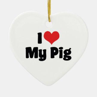 I Liebe-Herz mein Schwein Keramik Herz-Ornament