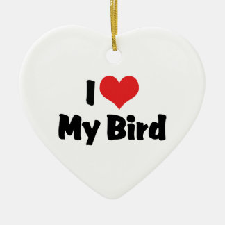 I Liebe-Herz mein Vogel - Vogel-Liebhaber Keramik Herz-Ornament