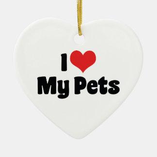 I Liebe-Herz meine Haustiere - Tierliebhaber Keramik Herz-Ornament