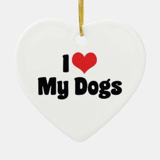 I Liebe-Herz meine Hunde - Tierliebhaber Keramik Herz-Ornament