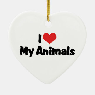 I Liebe-Herz meine Tiere - Haustier-Liebhaber Keramik Ornament
