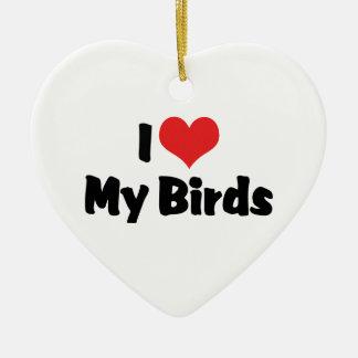 I Liebe-Herz meine Vögel - Vogel-Liebhaber Keramik Herz-Ornament