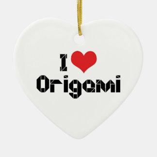 I Liebe-Herz Origami Keramik Ornament