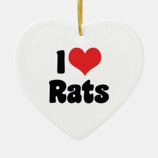 I Liebe-Herz-Ratten - Haustier-Ratten-Liebhaber Keramik Herz-Ornament