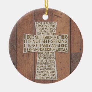 I Liebe-Kapitel-Kreuz der Korinther-13 rustikal Rundes Keramik Ornament