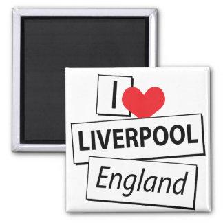 I Liebe Liverpool England Quadratischer Magnet