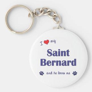 I Liebe mein Bernhardiner (männlicher Hund) Standard Runder Schlüsselanhänger
