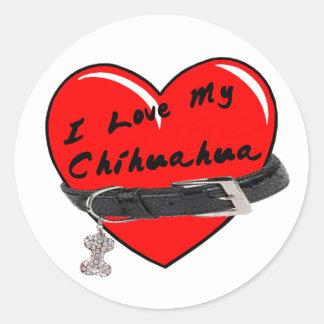 I Liebe mein Chihuahua-Herz mit Hundehalsband Runder Aufkleber