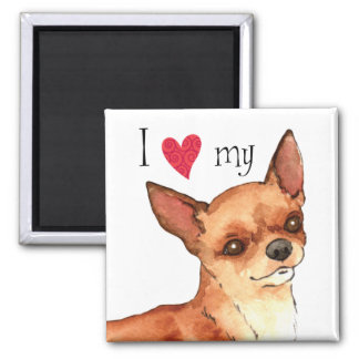 I Liebe mein Chihuahua Quadratischer Magnet