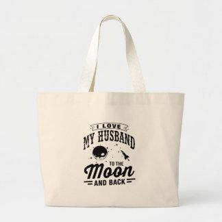 I Liebe mein Ehemann zum Mond und zur Rückseite Jumbo Stoffbeutel